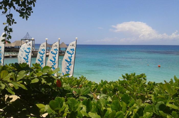 Overlooking the beach activities area